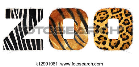 Stock Photography of Zoo word from fur alphabet. Isolated on white.