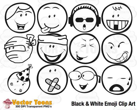 Black & White Emoji Clip Art, Digital Clipart, Digital Graphics.