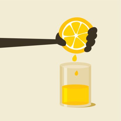 Squeezing Lemon Clip Art, Vector Image Illustrations.