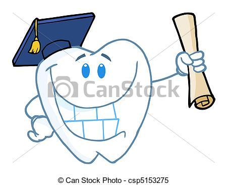 Cliparty Wektorowe absolwent, dyplom, dzierżawa, ząb.