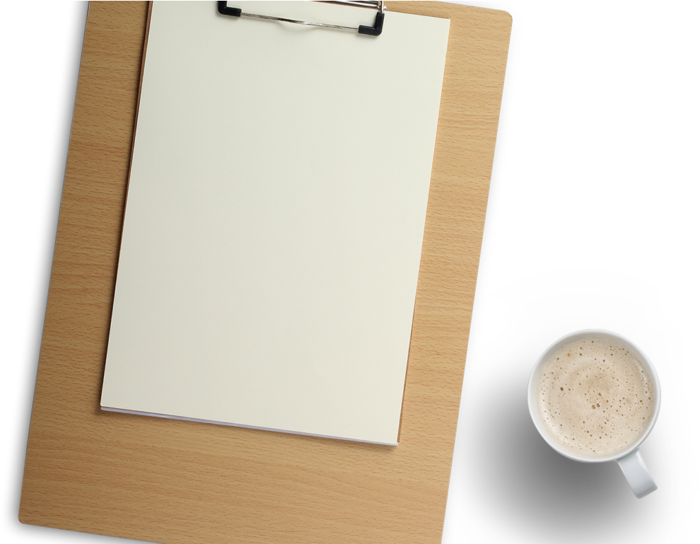 HD Wood Clipboard And Coffee Cup Png Image.