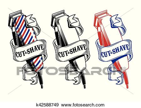 Collection hair clippers isolated on white Clip Art.