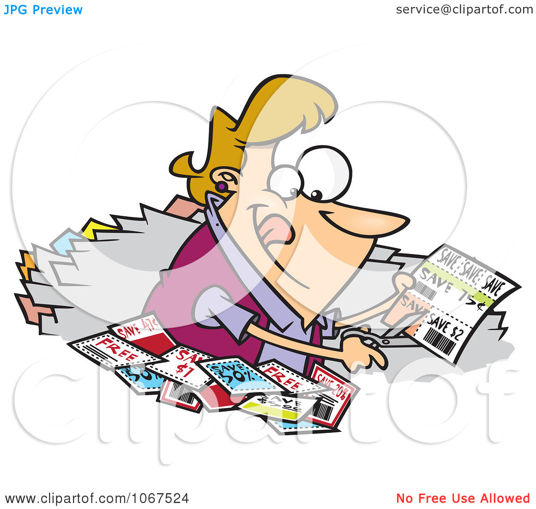 Clipart Woman Clipping Coupons.