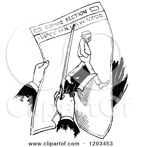 Clipart of a Vintage Black and White Person Clipping a Newspaper.