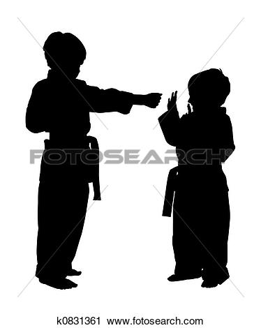 Clipart of Silhouette With Clipping Path of Children doing Martial.