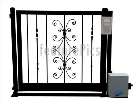 Wrought Iron Gate With Security Device Isolated Clipping Path.