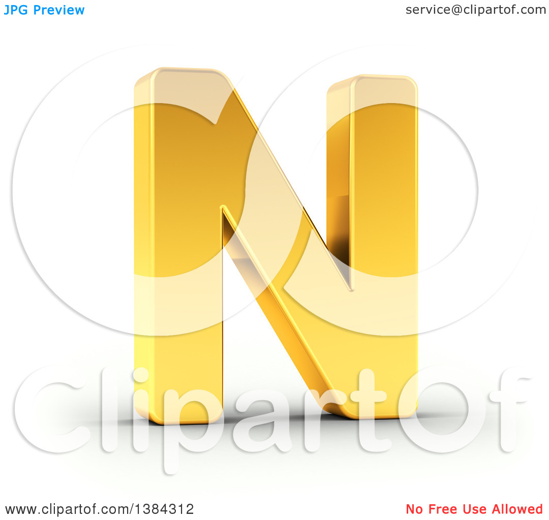 Clipart of a 3d Golden Capital Letter N, on a Shaded White.
