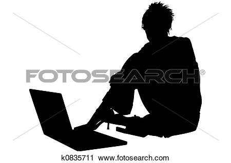 Clipart of Silhouette With Clipping Path woman with laptop.