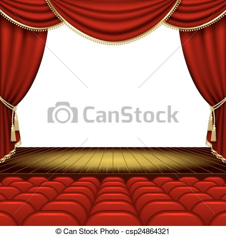 Vector Illustration of Theater stage with red curtain. Clipping.
