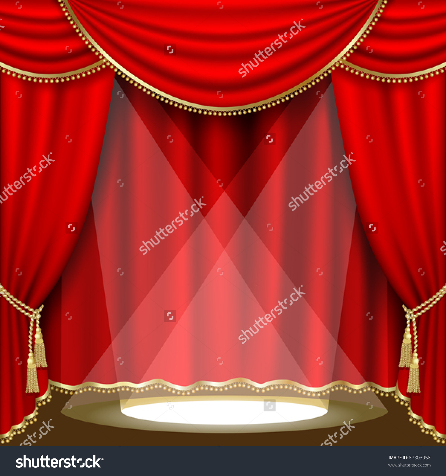 Theater Stage Red Curtain Clipping Mask Stock Vector 87303958.