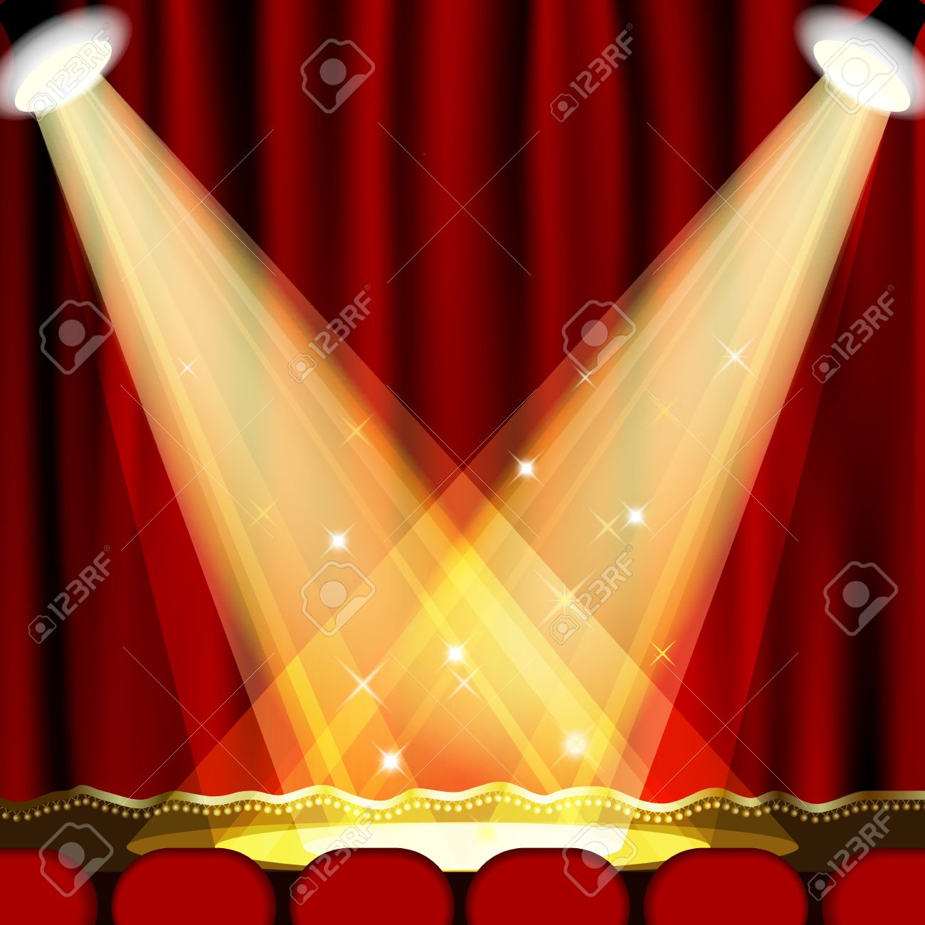 Theater Stage With Red Curtain Clipping Mask Mesh EPS10 Royalty.