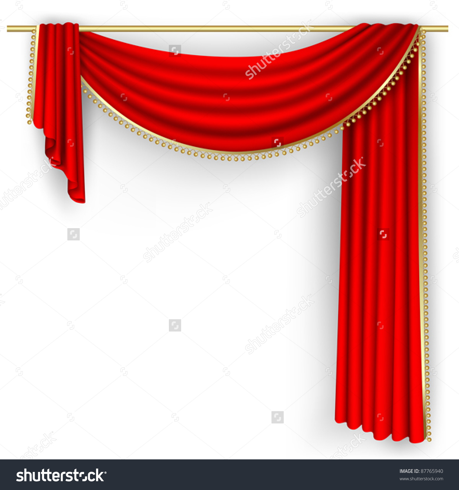 Theater Stage With Red Curtain. Clipping Mask. Mesh. Stock Vector.