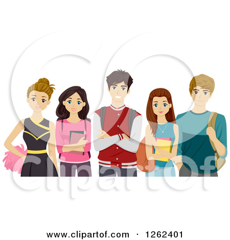 Clipart of Cheerleader and High School Students.