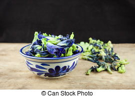 Stock Photographs of Fresh Butterfly pea flower, Clitoria ternatea.