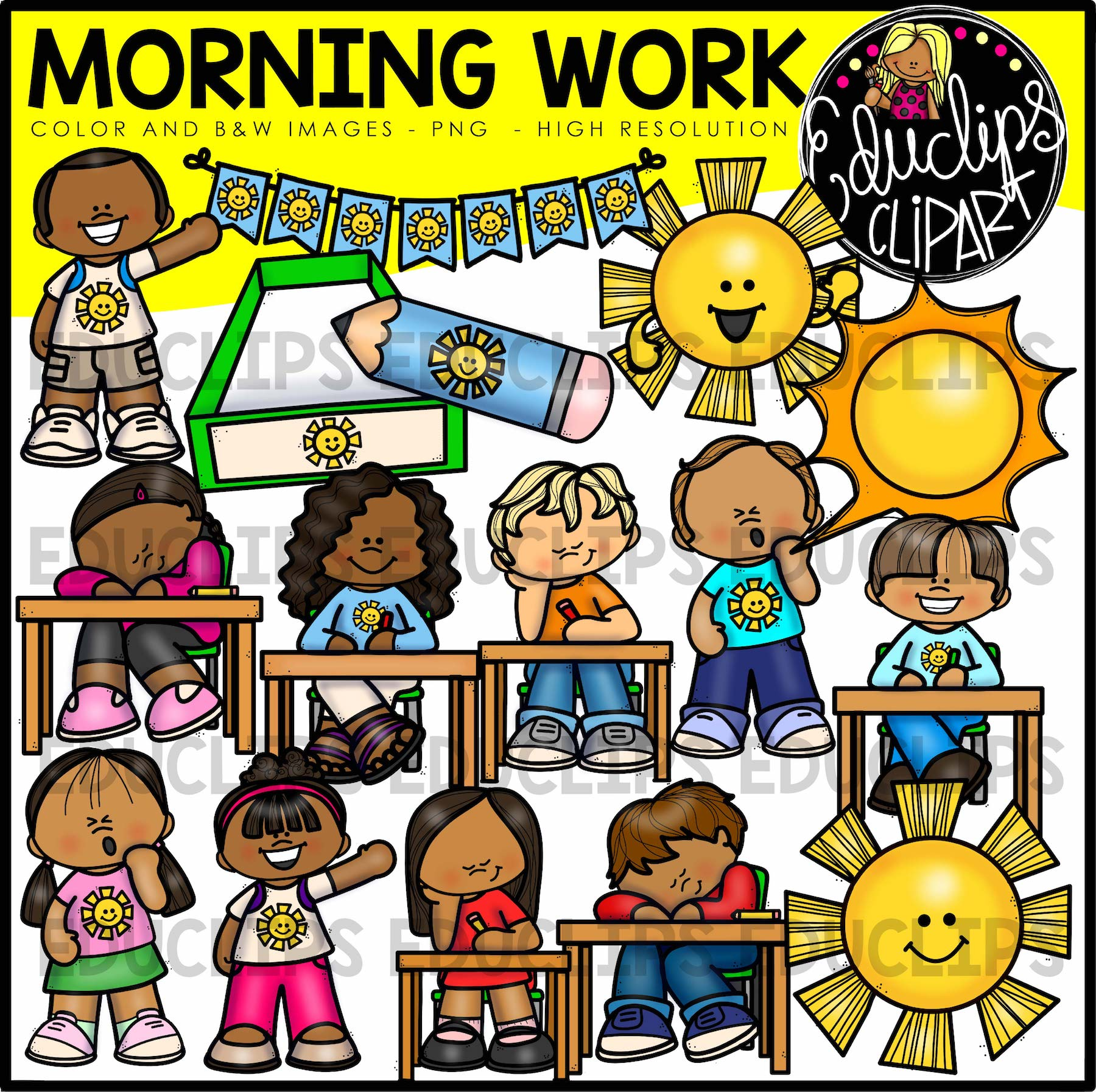 Class Time Clipart Big Bundle (Color and B&W).