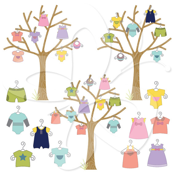 Baby Clothes Trees Digital Clip Art Clipart by CollectiveCreation.