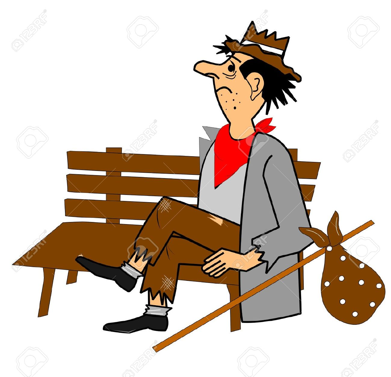 Homeless Man On Park Bench Royalty Free Cliparts, Vectors, And.