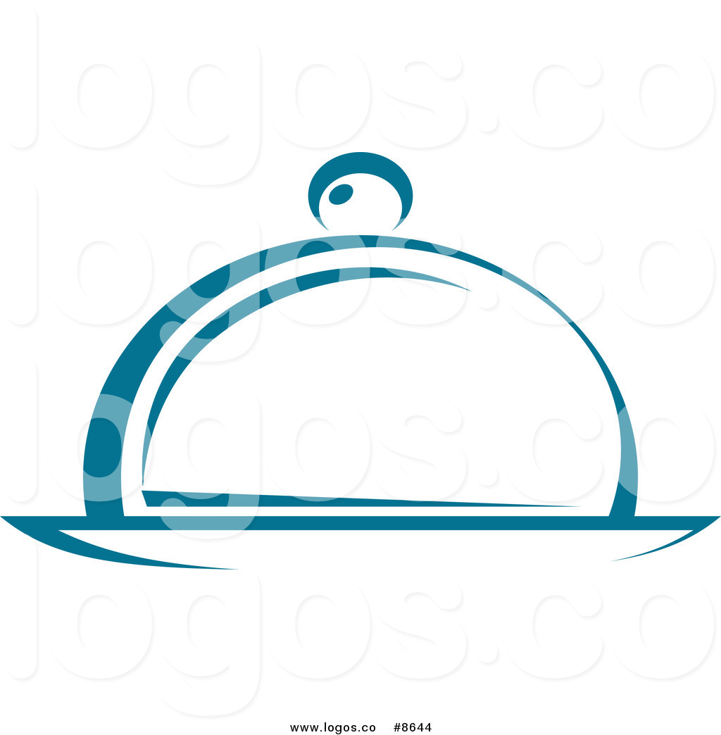 Royalty Free Vector of a Teal Cloche Food Service Platter Logo by.