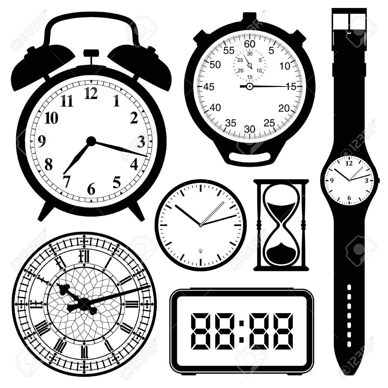 clock and watch collection black and white.