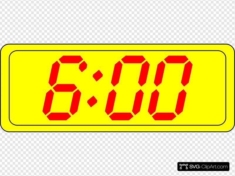 Digital Clock 6:00 Clip art, Icon and SVG.