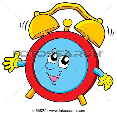 Cute Animal With Clock Clipart.