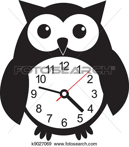 Clip Art of Cute wall clock owl sticker. Vector illustration.