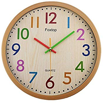 Foxtop Silent Non Ticking Kids Wall Clock, Battery Operated Large Colorful  Decorative Clock for Kids Nursery Room Bedroom School Classroom 12 Inch.