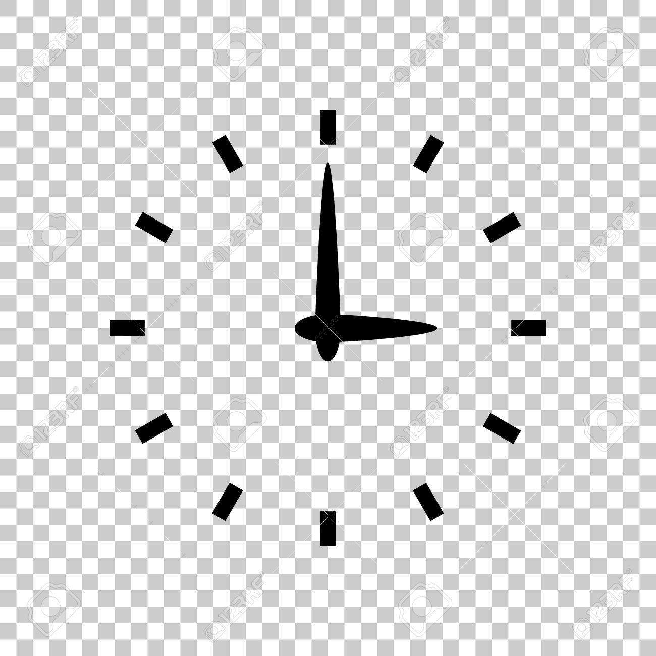 Simple icon of clock. Black icon on transparent background..