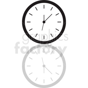 vector clock clipart with shadow . Royalty.