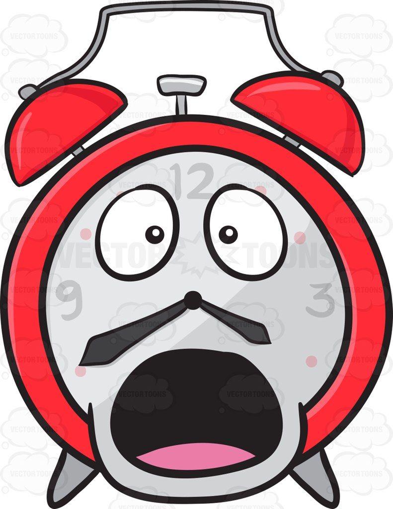 Startled And Shocked Alarm Clock Emoji #aghast #alarm.