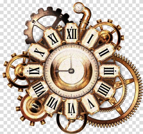 Brown mechanical clock, Steampunk Cyberpunk derivatives.