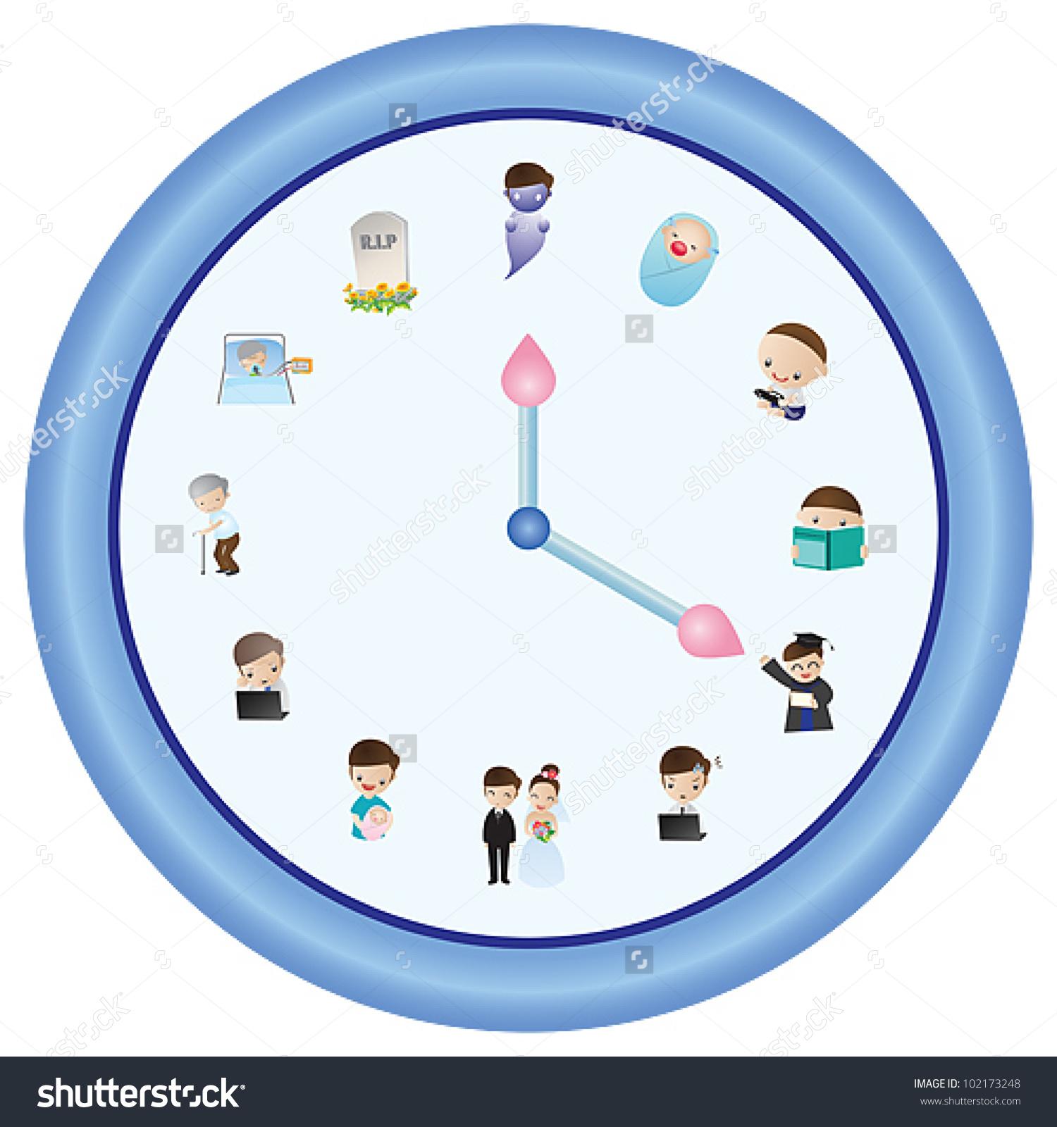 Clock Life Time Show Human Life Stock Vector 102173248.
