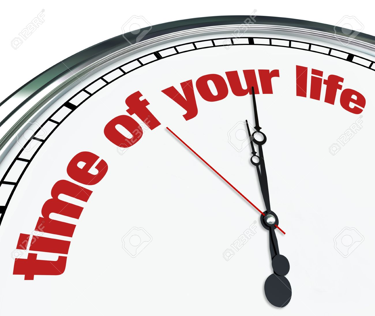 An Ornate Clock With The Words Time Of Your Life On Its Face Stock.