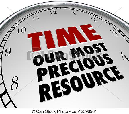 Stock Illustration of Time Our Most Precious Resource Clock Shows.