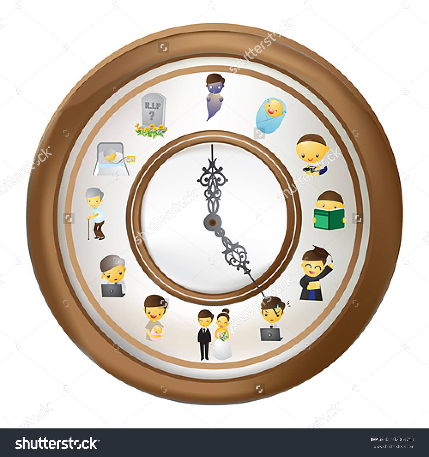 Human Lifetime Clock Time Show Human Stock Vector 102064750.