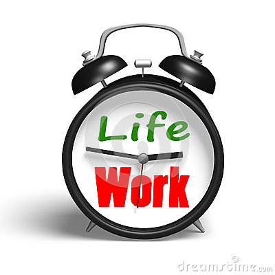Alarm Clock With Life And Work Face Stock Photo.