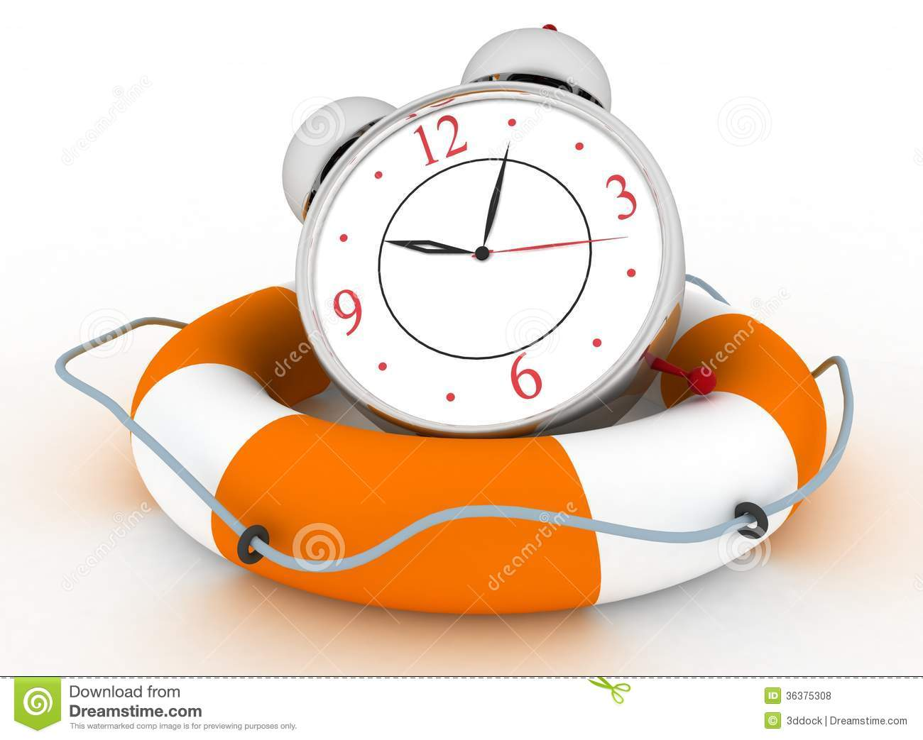 Concept Of Time To Be Safe. Alarm Clock With Life Buoy Royalty.