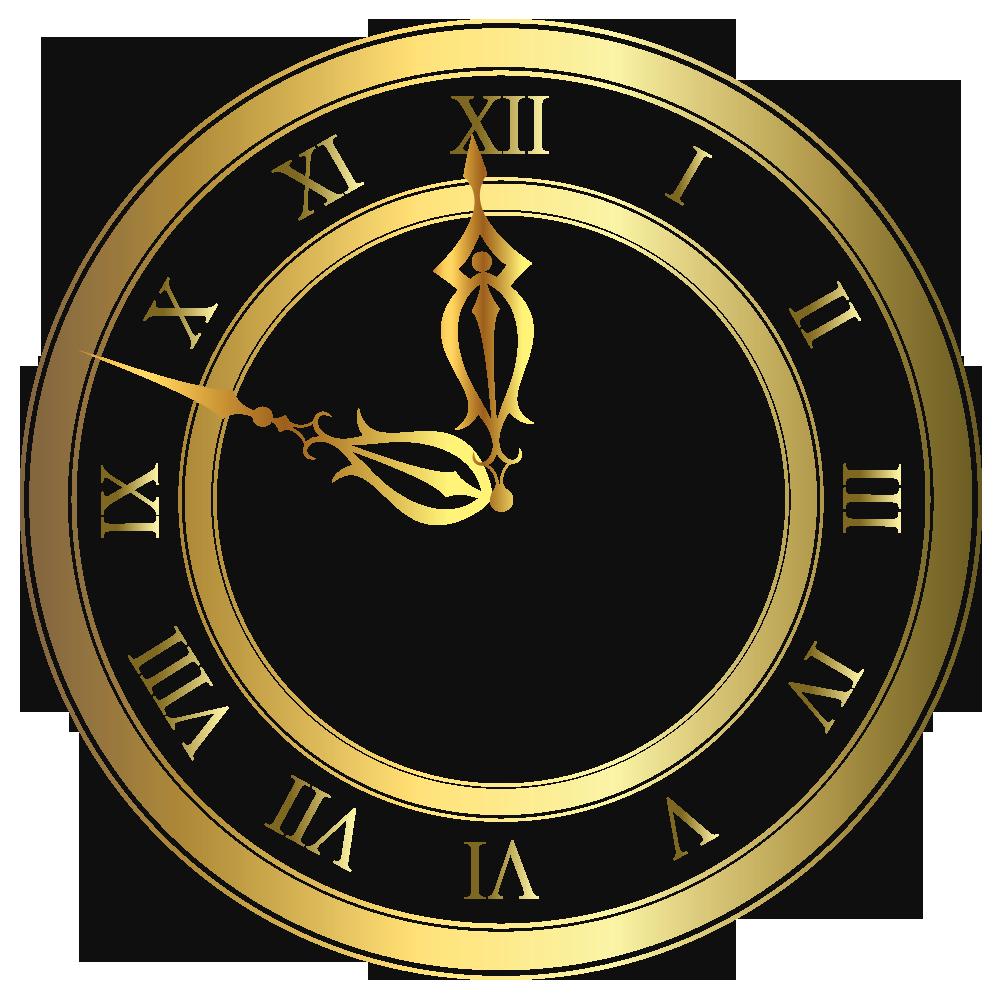 Golden Christmas Clock PNG Clipart.