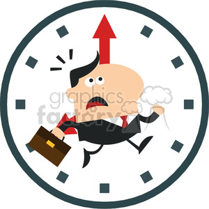 8275 Royalty Free RF Clipart Illustration Hurried Manager Running Past A  Clock Modern Flat Design Vector Illustration clipart. Royalty.