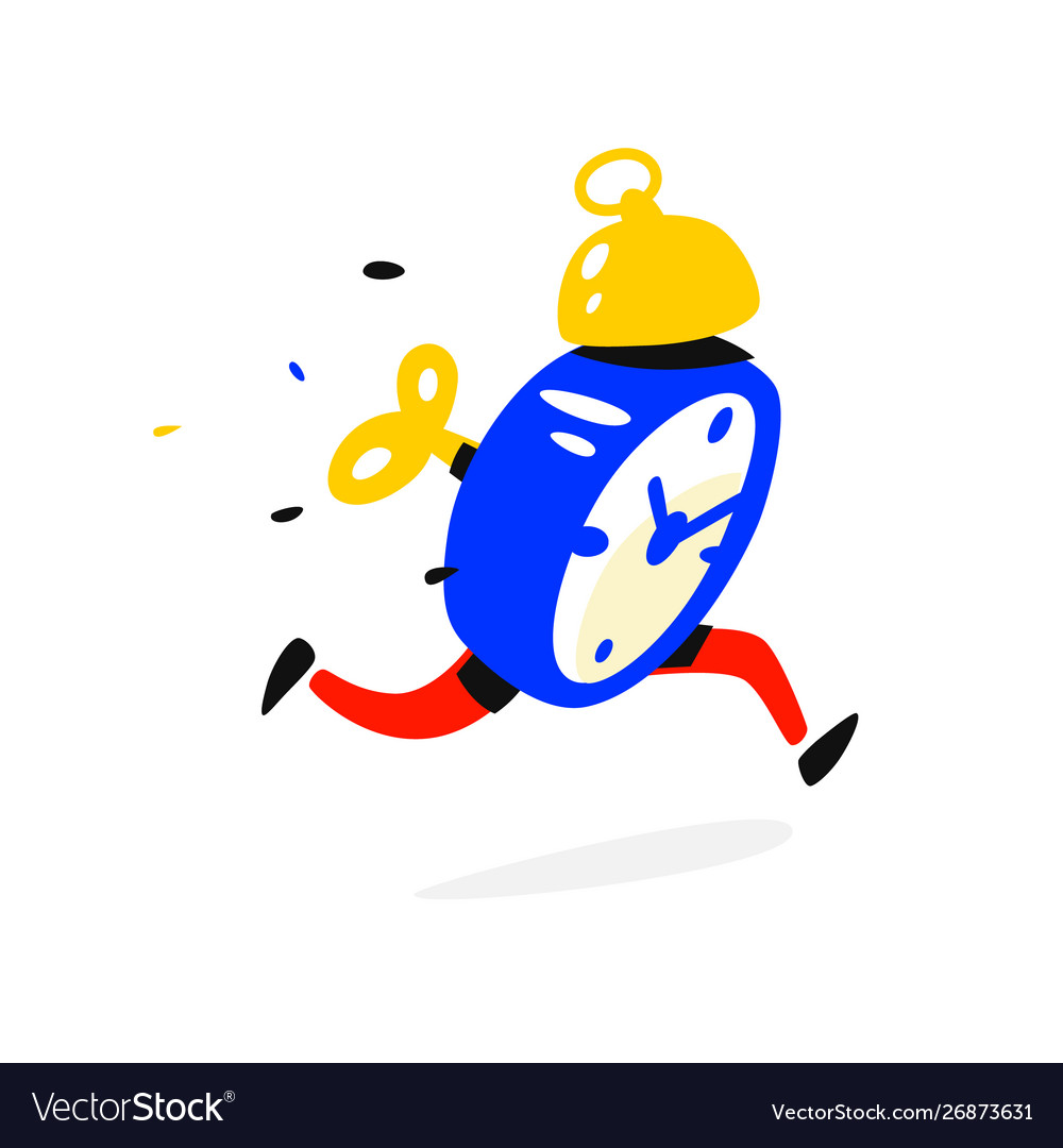 Cartoon character running alarm clock time is up vector image.