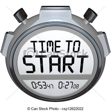 Clip Art of Time to Start Words Stopwatch Timer Clock.