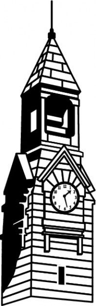 Clock tower silhouette clipart.
