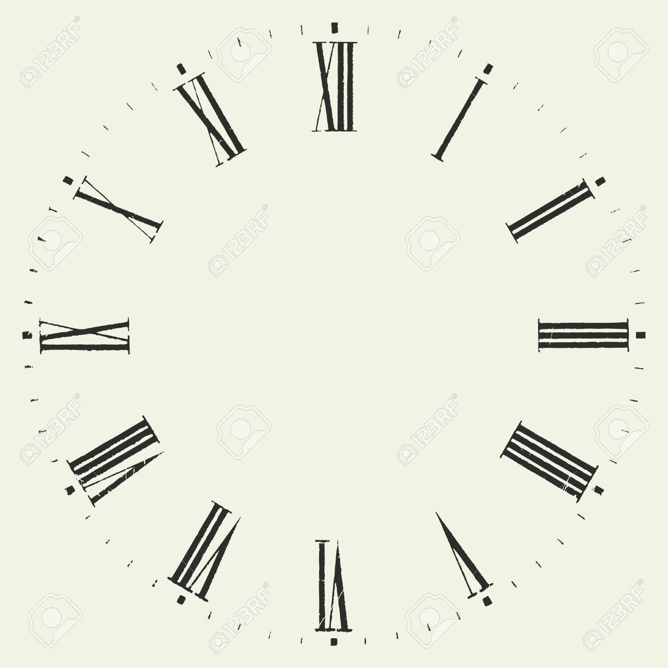 Vintage dial. Vector roman numeral clock..