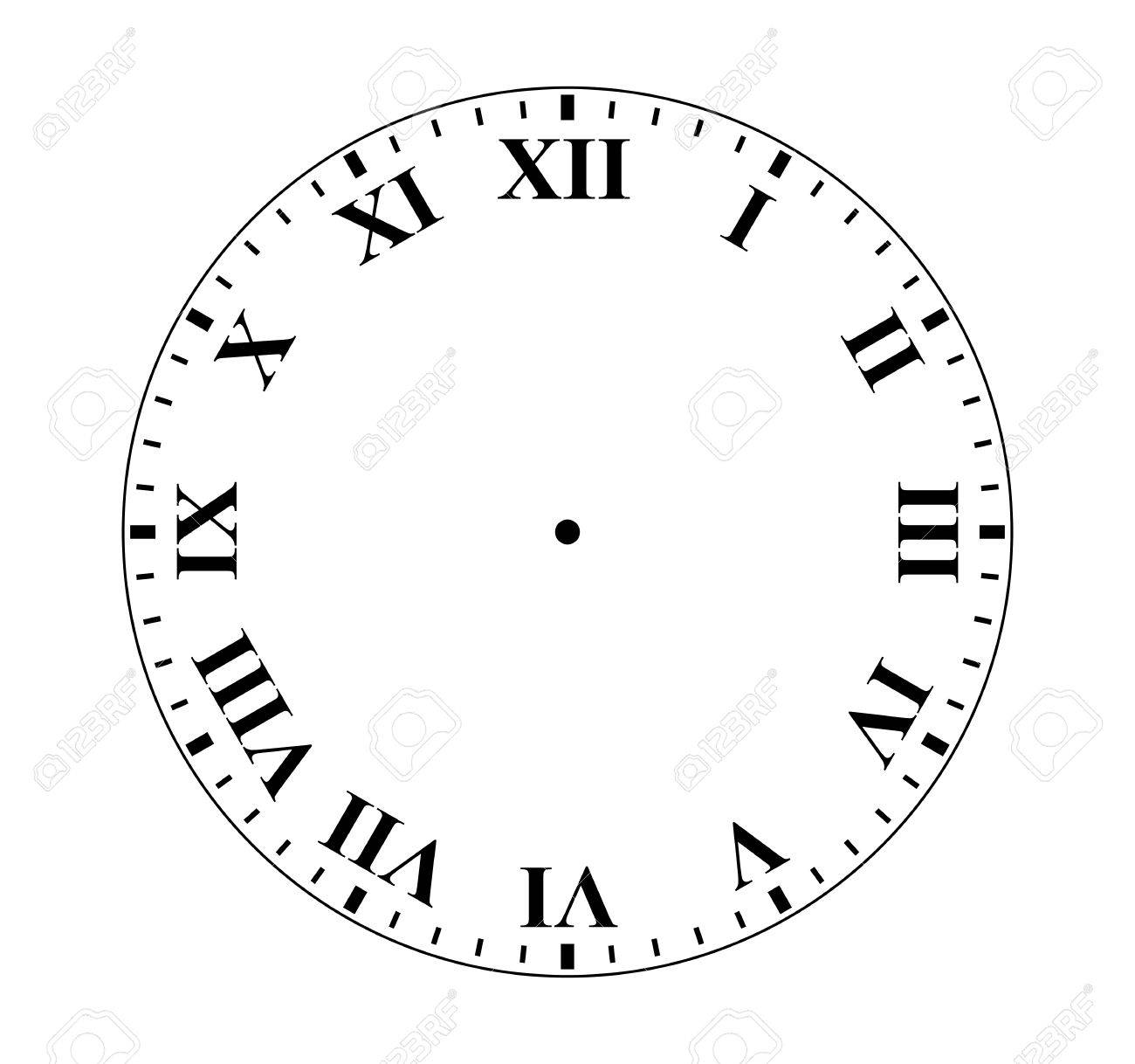 Simple clock face with roman numeral figures..