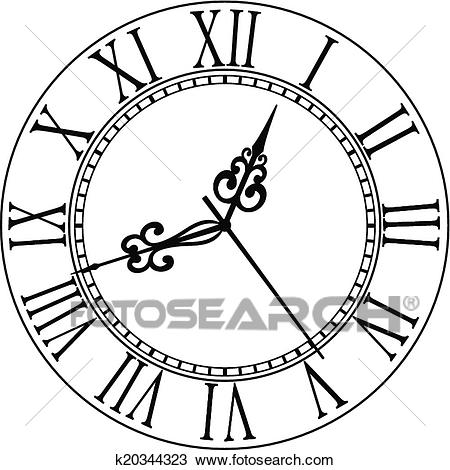 Old clock face with Roman numerals Clipart.