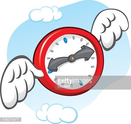 Illustration time flies, clock with wings Clipart Image.