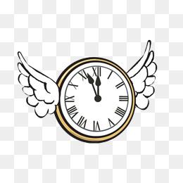 Flying Clock Clipart.