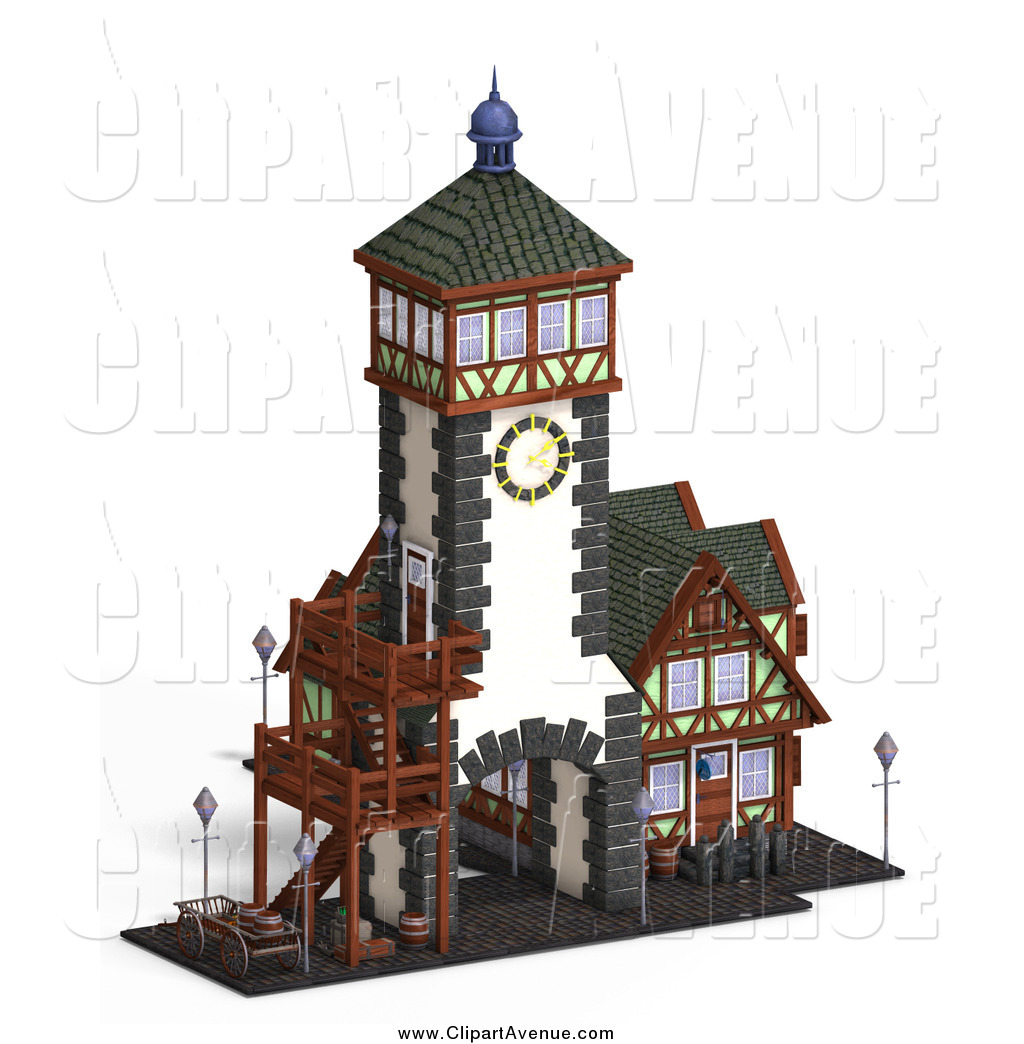 Avenue Clipart of a 3d Medieval Clock Tower and Building by Ralf61.