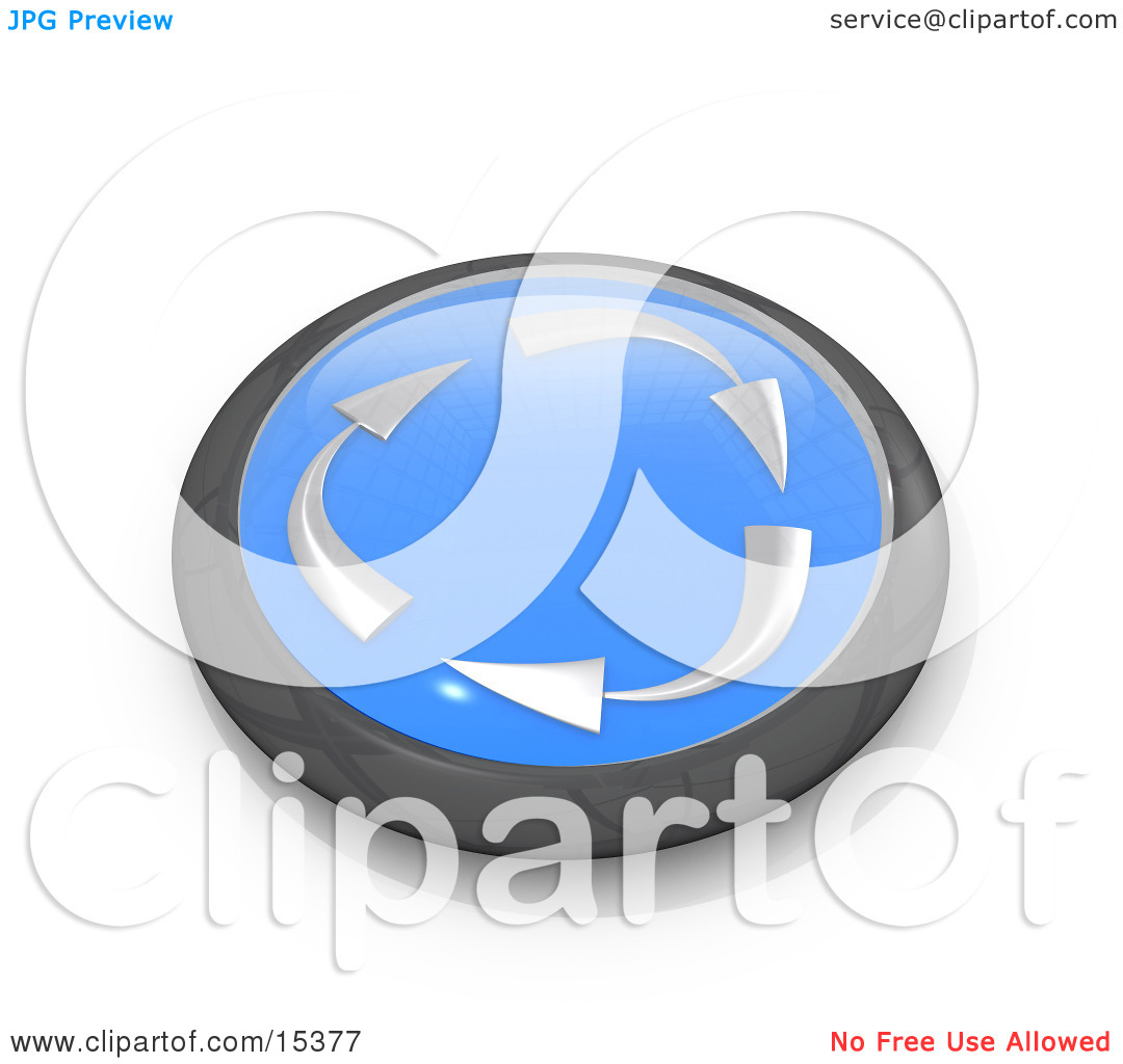 Blue Button With Silver Recycle Arrows Moving Clockwise Clipart.