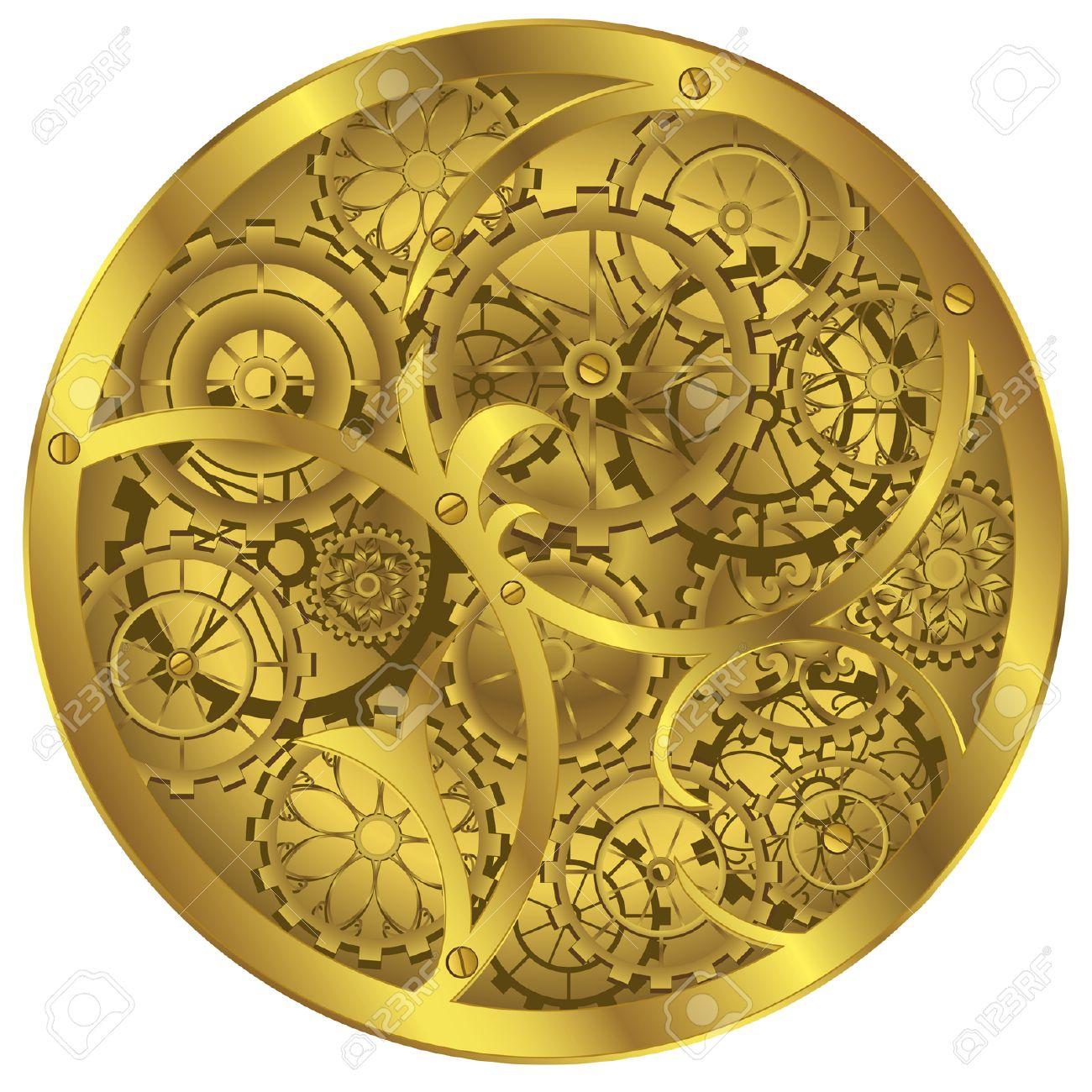 Clockwork Background Gold White Clipart.